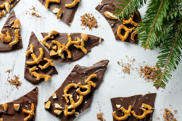 Chocolate Almond Pretzel Bark