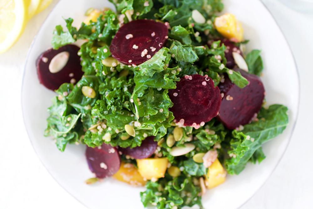 Kale, Quinoa & Beet Salad with Lemon Vinaigrette
