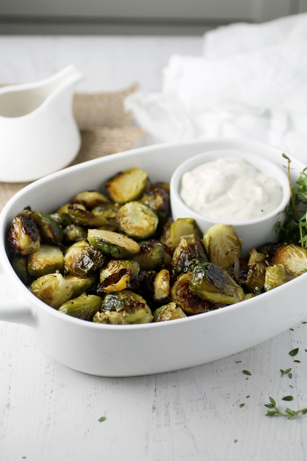 Roasted Brussels Sprouts with Skinny Garlic Aioli