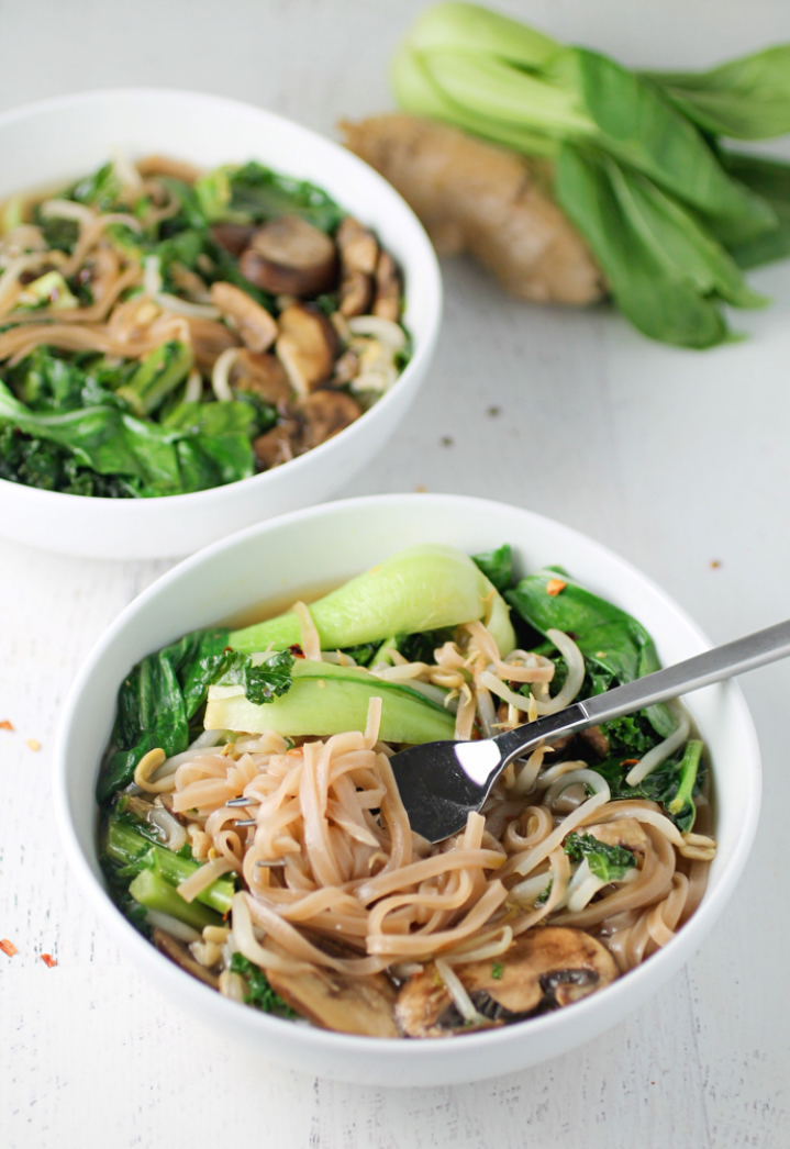 Bok Choy and Brown Rice Noodle Bowl