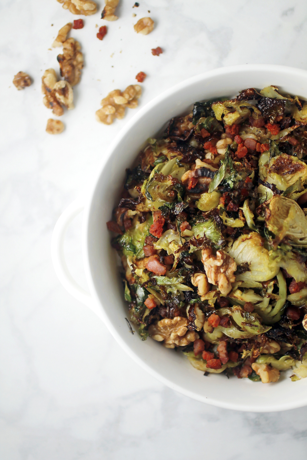 Roasted Shredded Brussels Sprouts with Pancetta and Parmesan
