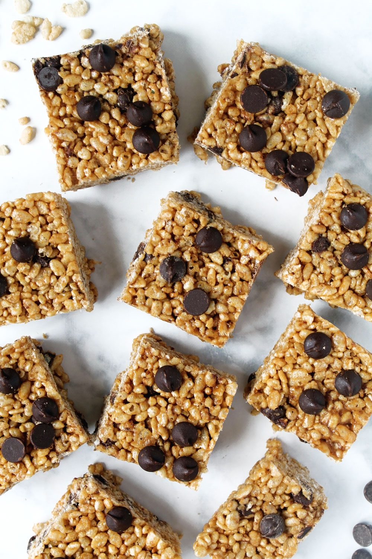 Peanut Butter Chocolate Chip Rice Crispy Treats