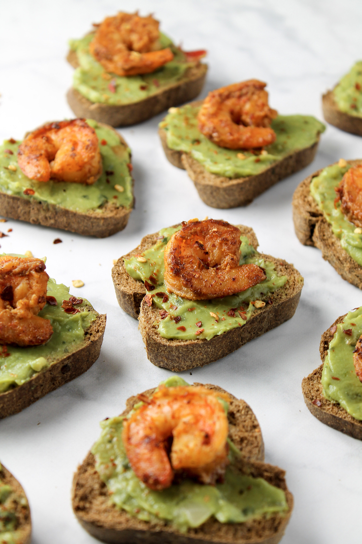 chili lime shrimp and avocado toast