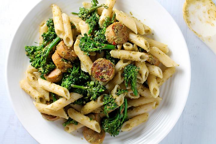 Pesto Pasta with Broccolini and Organic Chicken Sausage