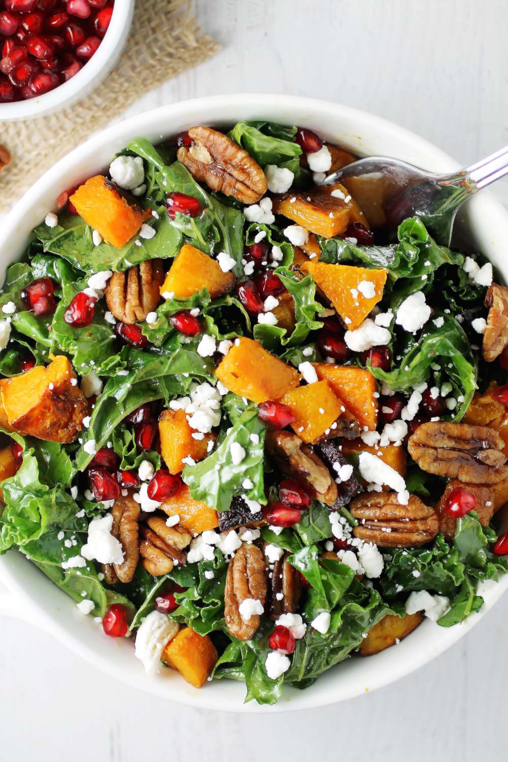 Butternut Squash and Kale Salad with Pomegranate and Maple Pecans