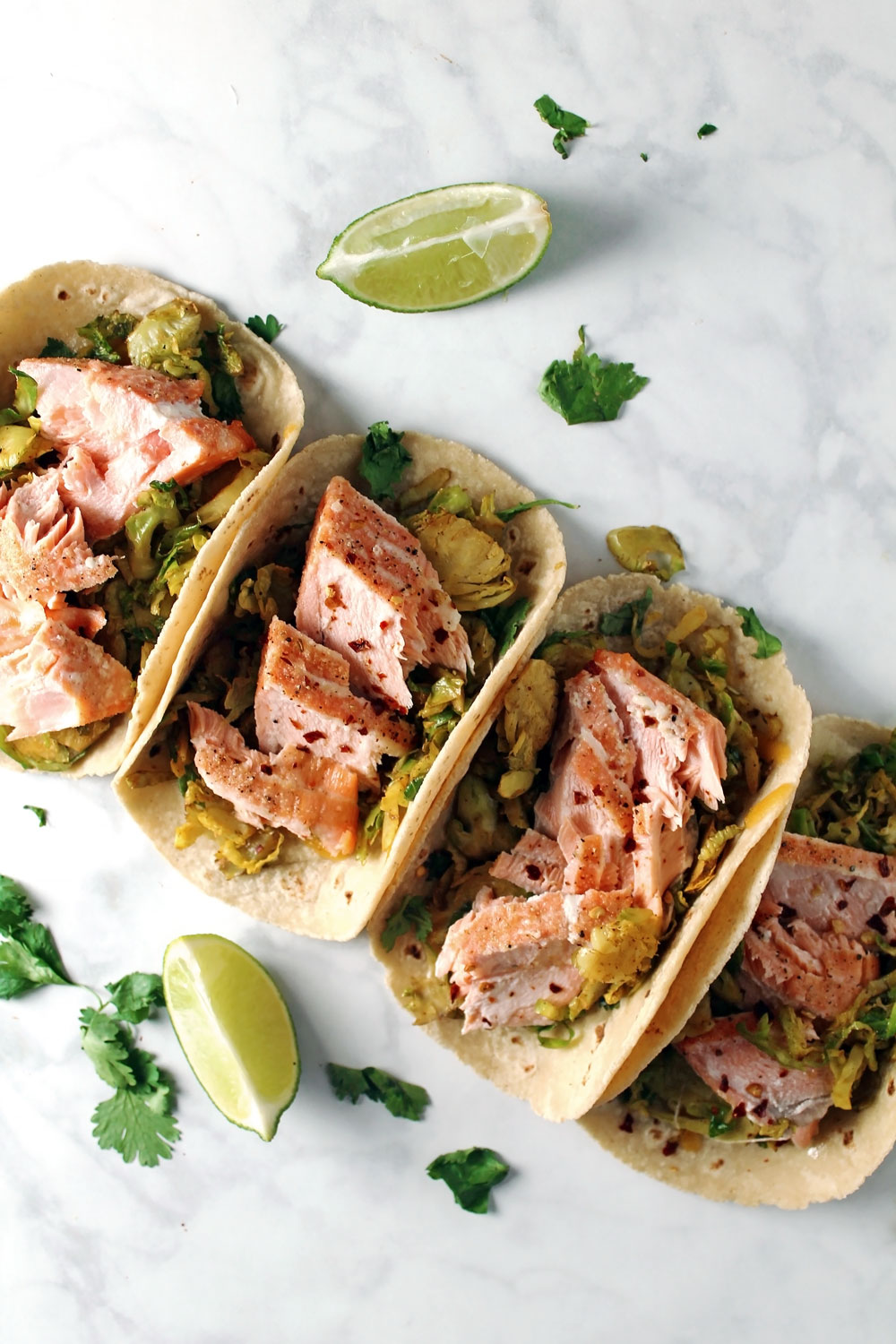 Salmon and Shredded Brussels Sprout Tacos