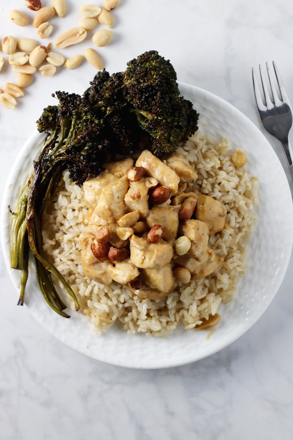 Thai Peanut Chicken with Brown Rice and Broccolini