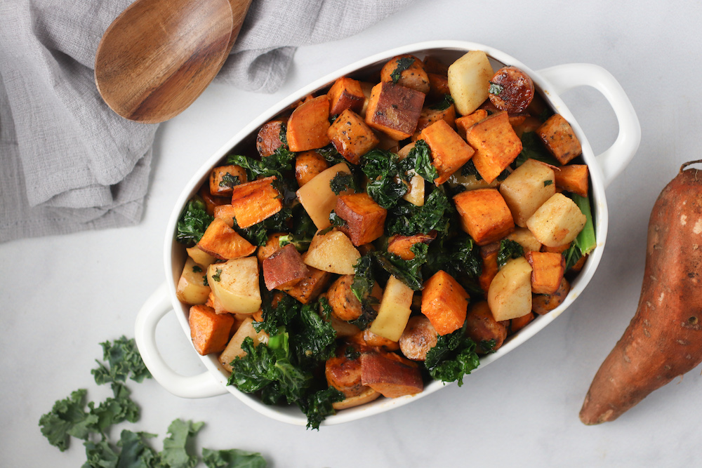 Roasted Sweet Potato, Sausage & Apple Bake