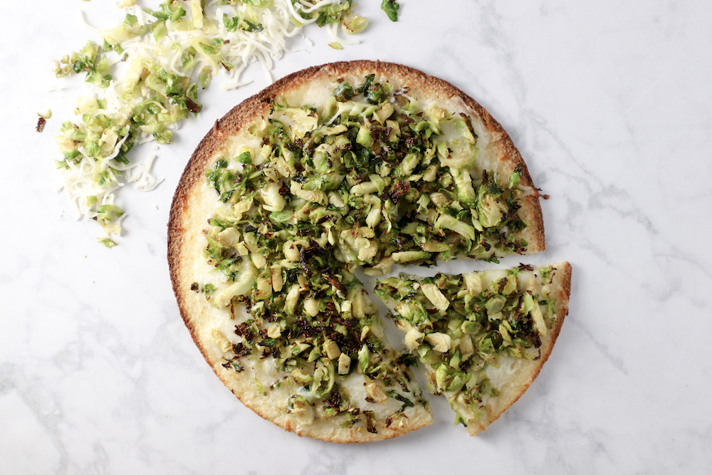 Roasted Shredded Brussels Sprout Pizza