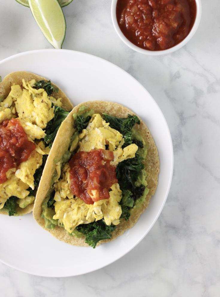 healthy kale avocado breakfast tacos