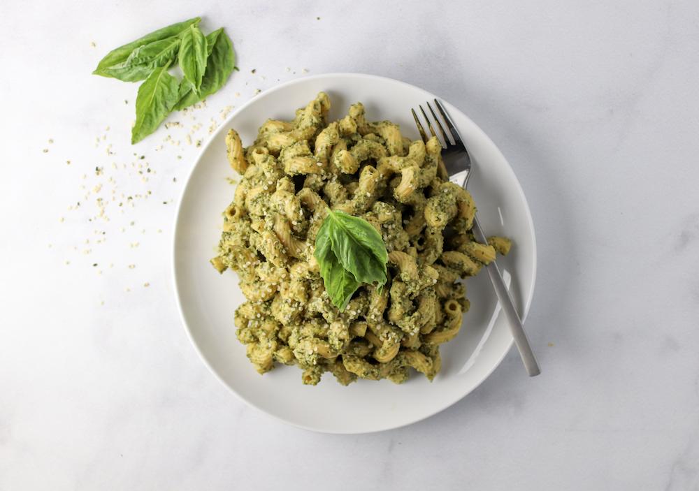 Protein Packed Edamame Pesto Pasta