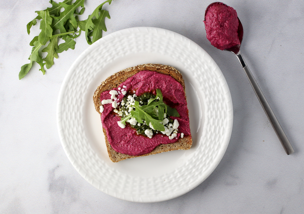 beet and basil pesto toast