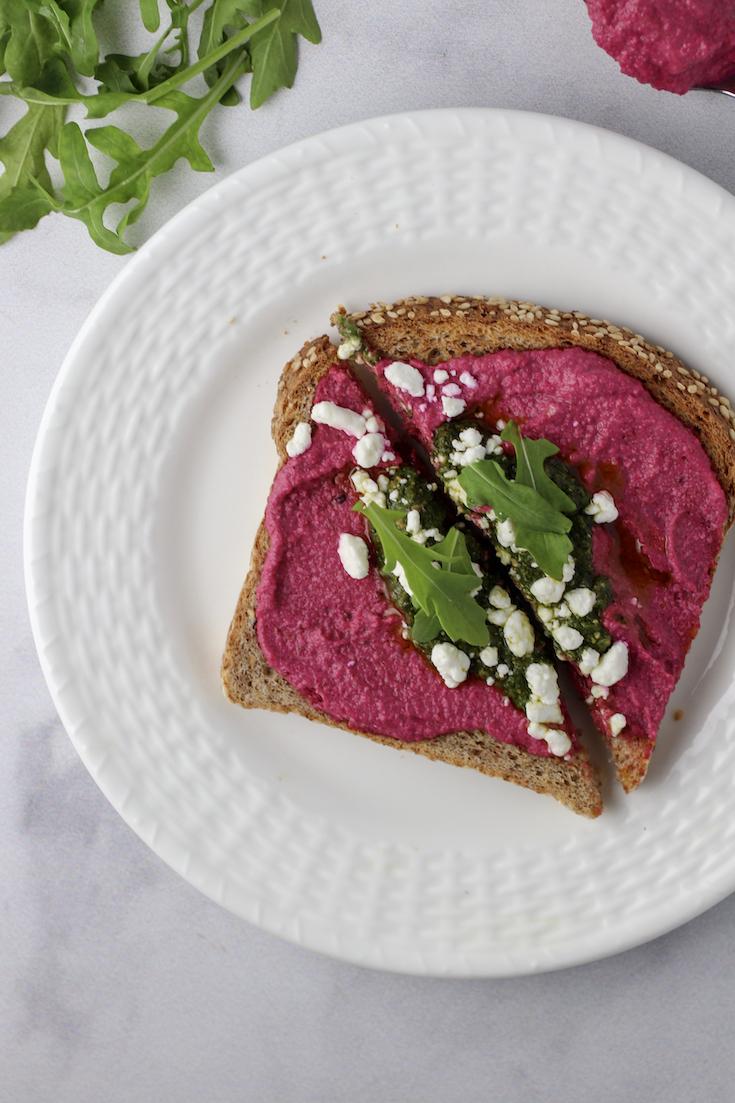 beet and basil pesto toast