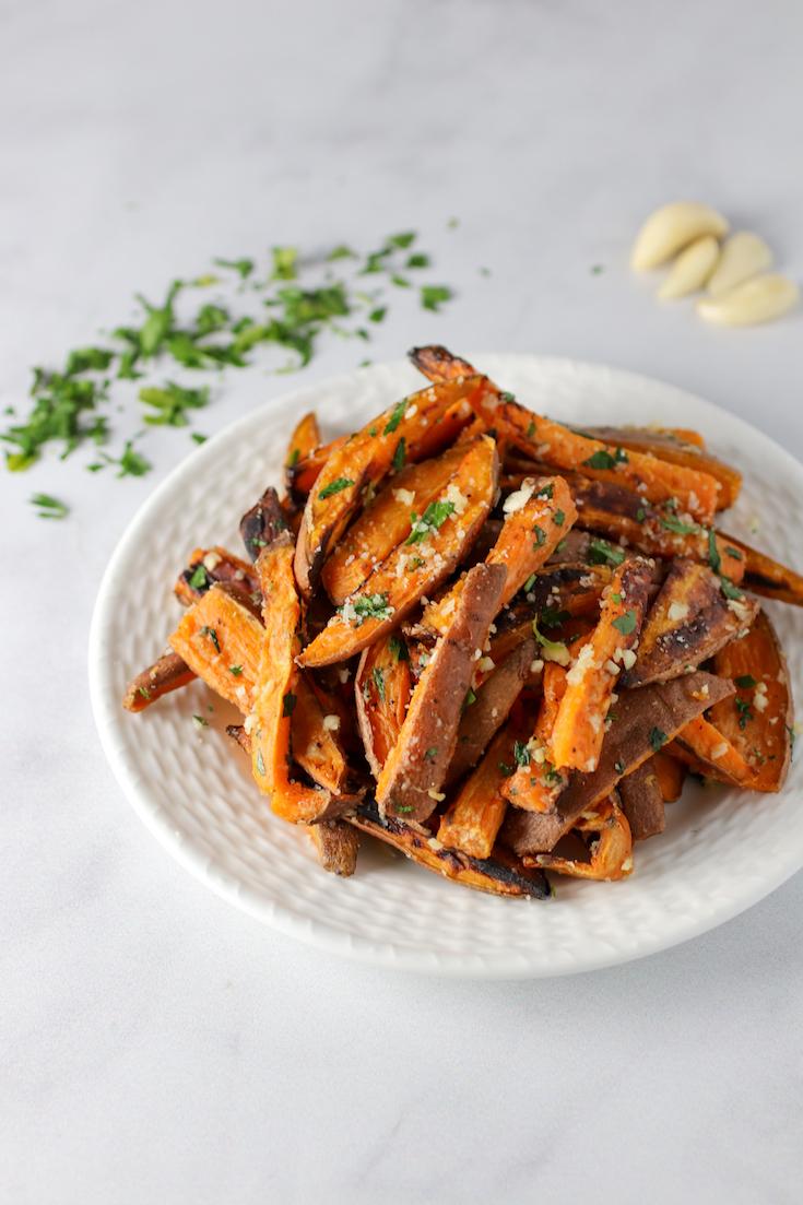 Garlic and Herb Baked Sweet Potato Fries