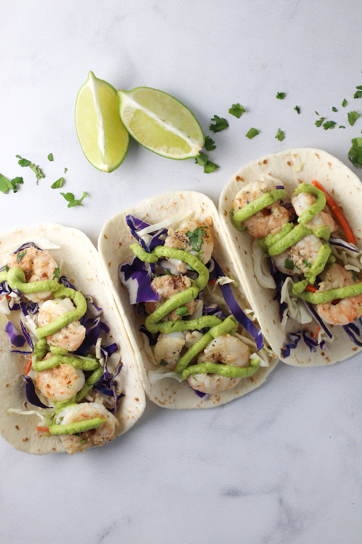 Healthy Shrimp Tacos with Avocado Creama