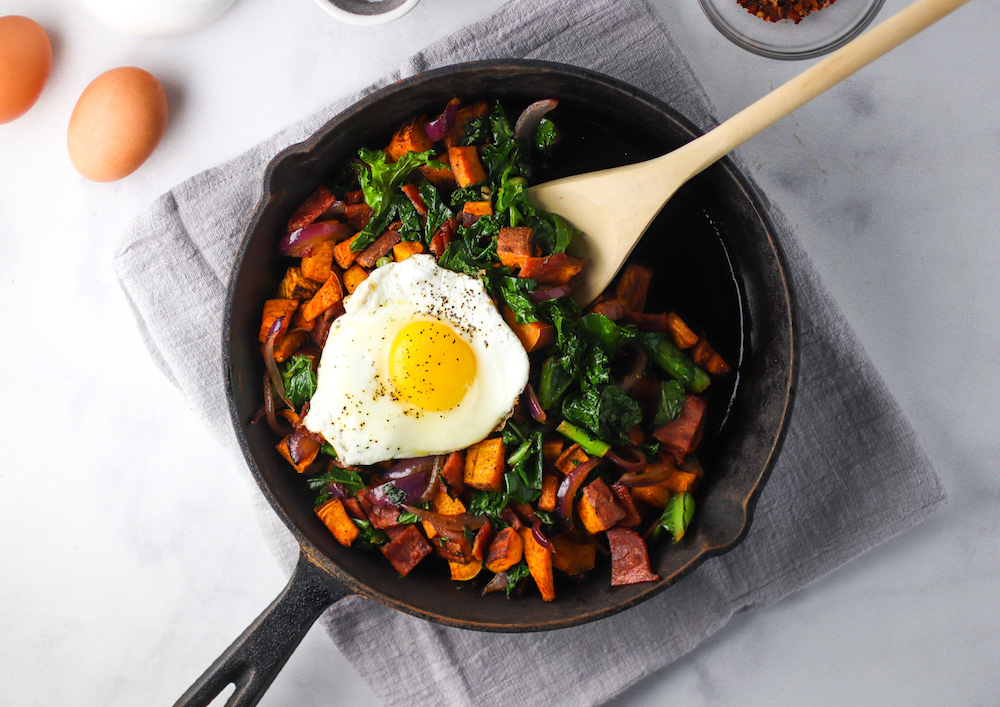 kale, turkey bacon and sweet potato hash