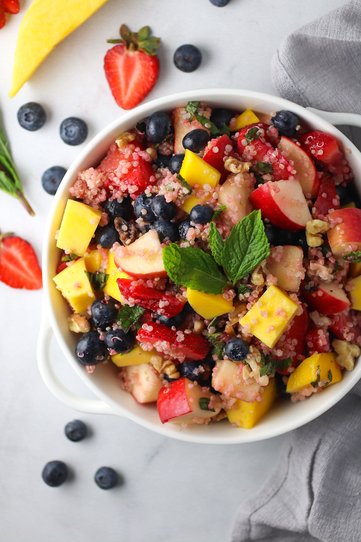 honey lemon quinoa fruit salad