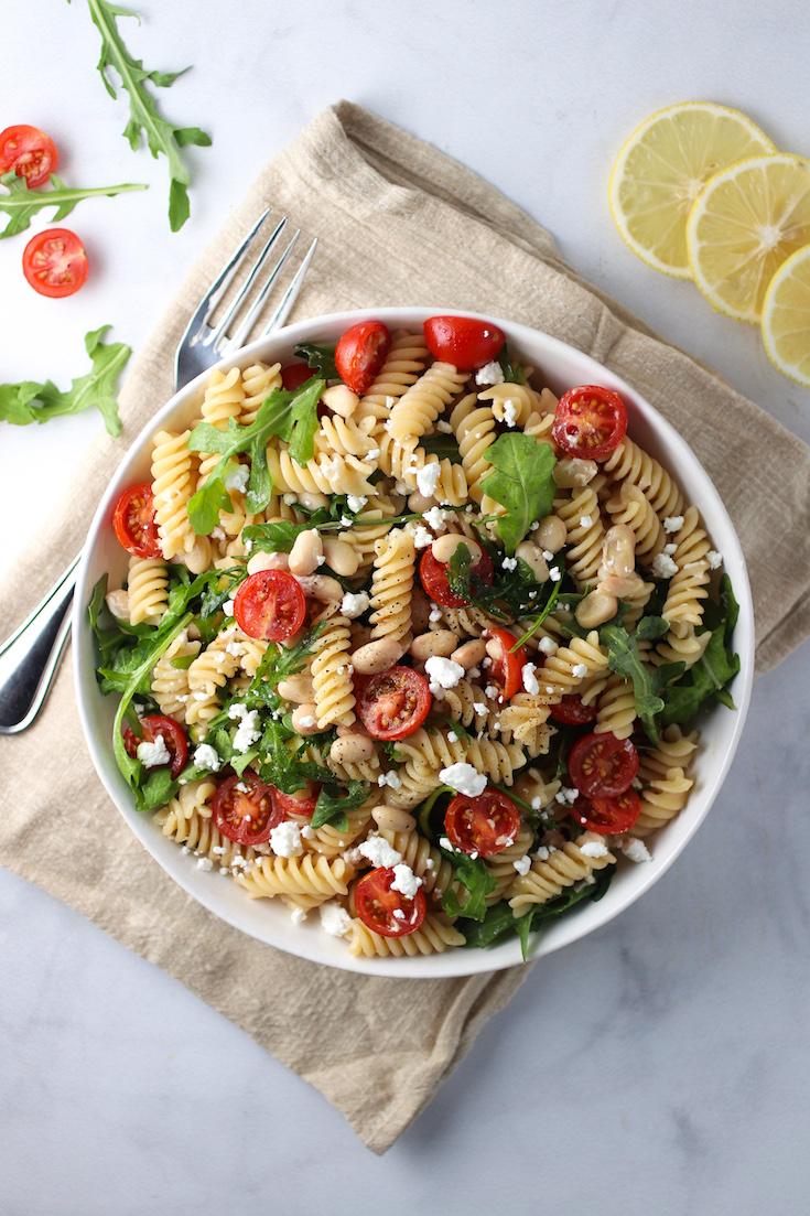 lemon arugula pasta salad