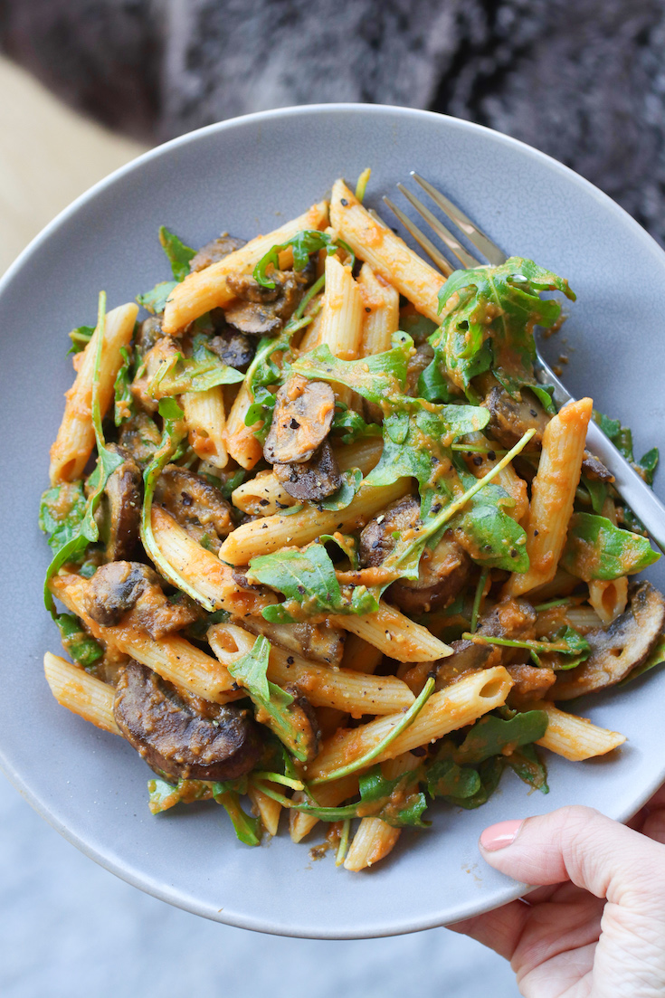 Dairy Free Pumpkin Pasta with Mushrooms and Arugula