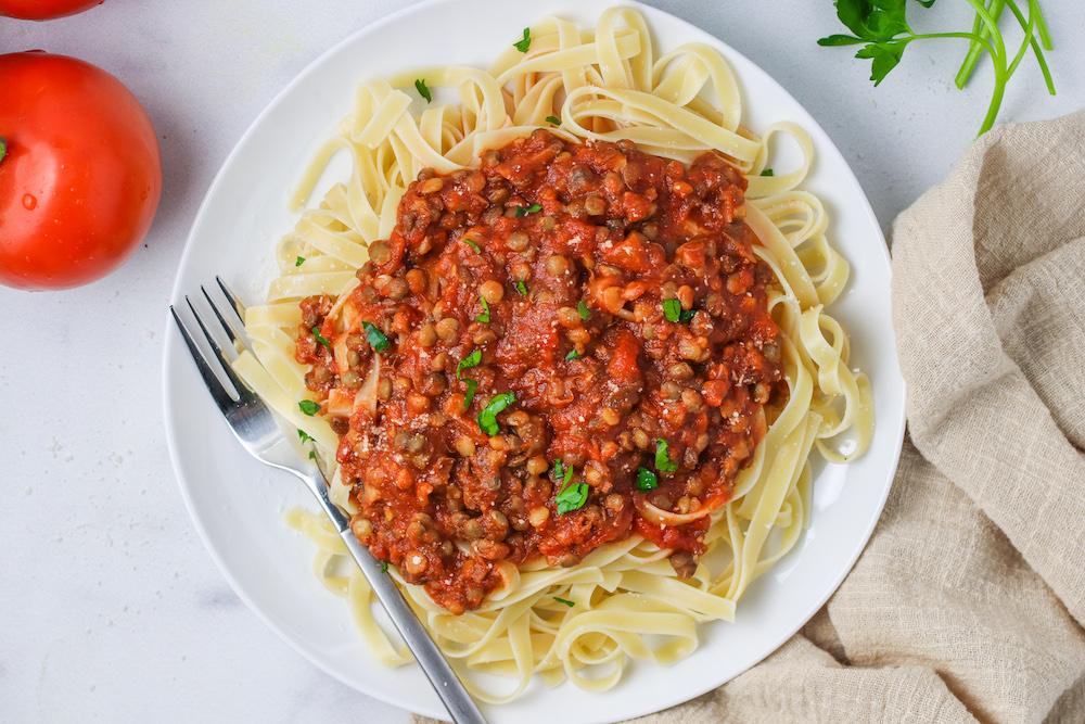 Easy Trader Joe's Dinner: Fettuccine and Lentil Bolognese