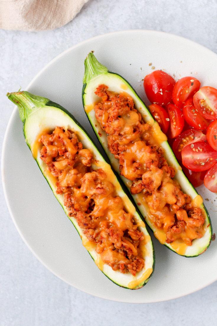 The Easiest Turkey Taco Zucchini Boats