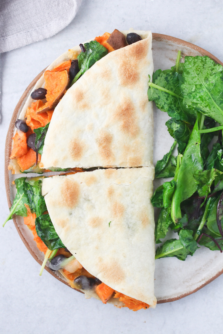 Sweet Potato, Spinach and Black Bean Quesadilla