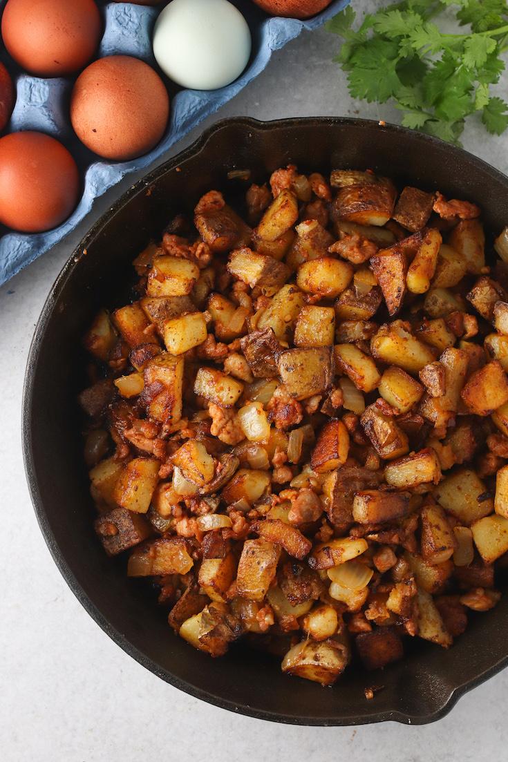 Chorizo and Potato Tostada with a Fried Egg