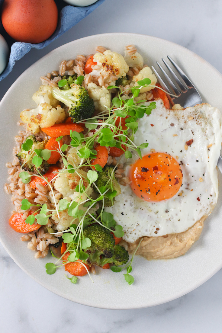 Farro and Roasted Vegetable Bowl with a Fried Egg
