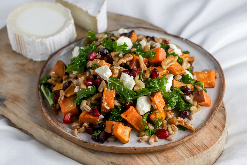 sweet potato and faro salad